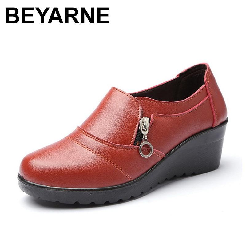 Faible Noir En Cuir Femme jaune rouge forme Cheville Chaussures 2018 Plate Bottes Doux Zip Femmes Beyarne Automne Compensées Nouveau Pu TqwZZv