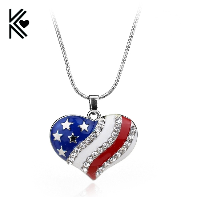 Heart shaped flag floating pendant charms usa american flag necklace heart shaped flag floating pendant charms usa american flag necklace crystal the old glory necklace christmas aloadofball Choice Image