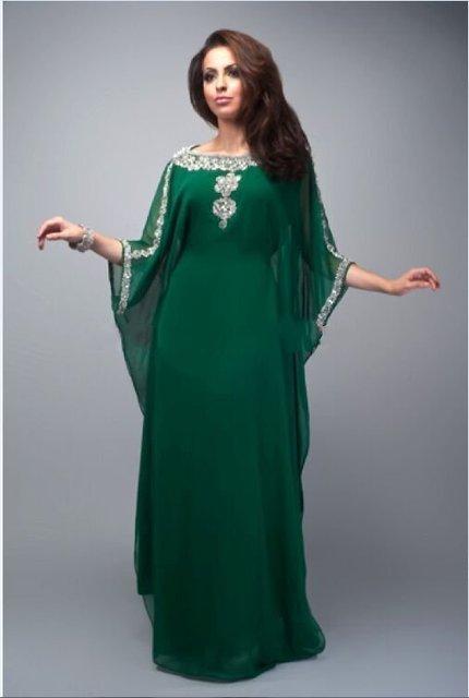 Verde de Lujo Con Cuentas Crystlas Kaftan Dubai Abaya Dubai Vestidos de Noche de Manga Larga Vestidos de Noche Árabe Vestidos De Moda