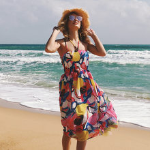 Amazon Aliexpress Hot new European and American printing wrapped chest sexy  backless beach dress chiffon dress 804457cdd1a8