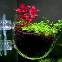 Nicrew Aquarium decoration fish tank Mini Crystal Glass Pot Polka Water potted planting cylinder cup aquarium accessories