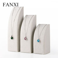 FANXI MDF Wrapped with Cremy white Linen Pendant Exhibitor Stand for Jewelry Shop Counter Necklace Display Holder Organizer