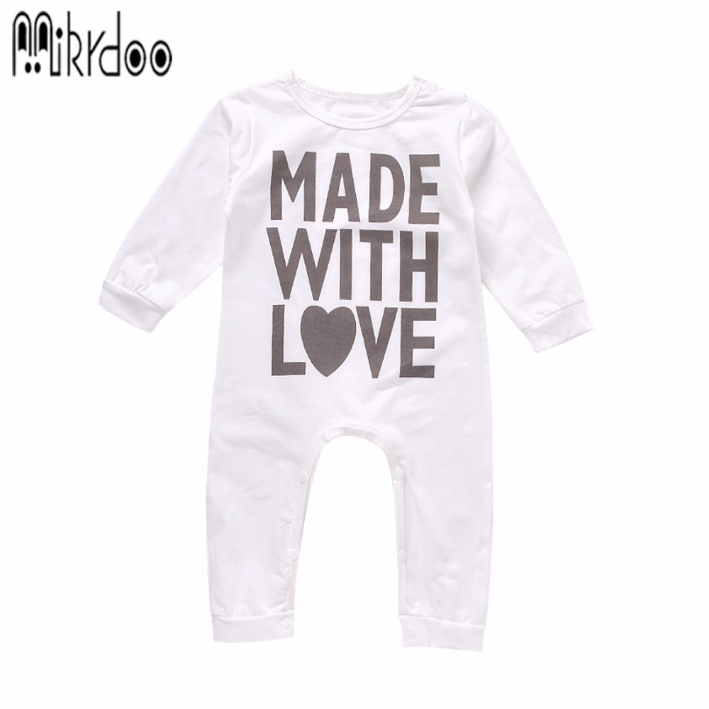 Baby Boy Girl Clothes Made With Love Letter Toddler Long