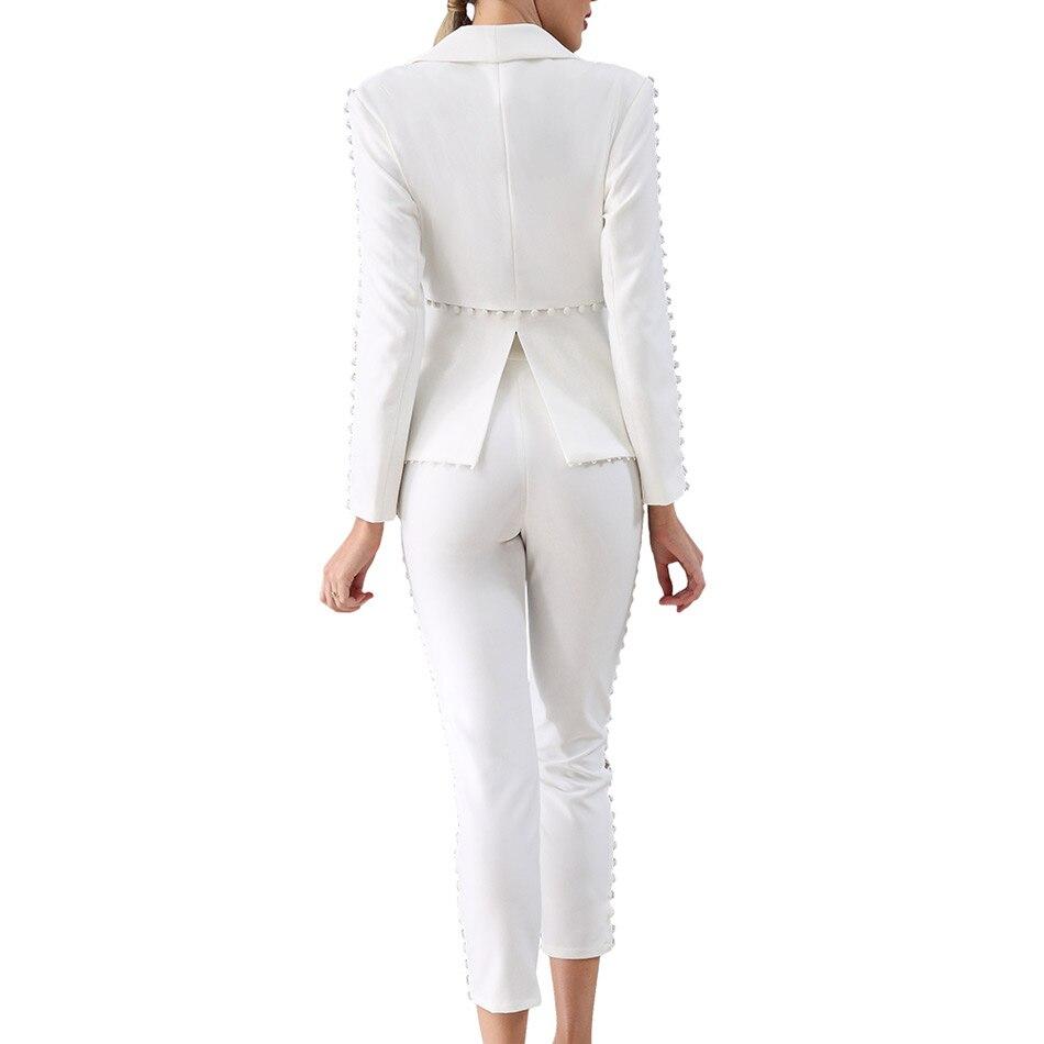 2017 Mode Haute Costume Fête Femmes Qualité Élégant Seamyla Manches Hiver Piste Costumes Nouvelle Ensemble D'affaires Célébrité Blanc Longues 18C4wYg