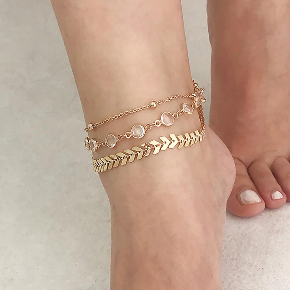 Multi-layer Crystal Anklet New Fashion Simple for Women Vintage Beach