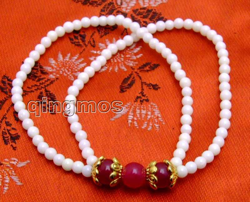 4mm white coral and 8mm round Rose pink Stone 2 strands 7.5