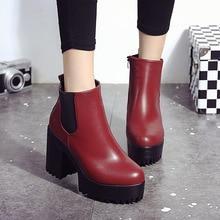 2016 new women's short boots women's thick with high-heeled waterproof boots plus velvet round toe Martin boots botas senhora
