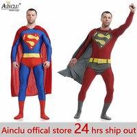 Ainclu 24 hrs ship out Superman Spandex Costume 3d print Zentai Suit Superman Costume Adult Cosplay Superhero Movie Costume