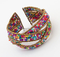 Hot New Design Multilayer Ethnic Bohemian Beaded Bangles Bracelets for Women 7 color Handmade Wide Cuff Bangles