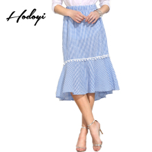 Hodoyi Women Skirts Streetwear Blue Plaid Elegant Fishtail Casual Midi Skirts Elastic High Waist Fringe Patchwork A-line Skirts