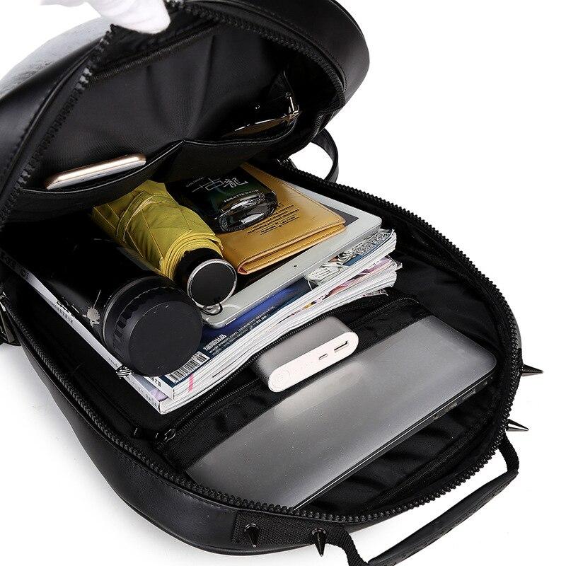 New Unisex Black Leather Backpack 2017 New Brand Women Rock Style Zipper Shoulder Bags Teenagers Skull Printing Backpacks 5