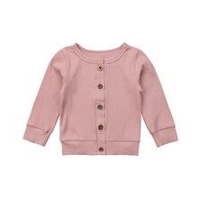Повседневный хлопковый вязаный свитер с длинными рукавами для новорожденных девочек, пальто-кардиган, Модные осенние Топы