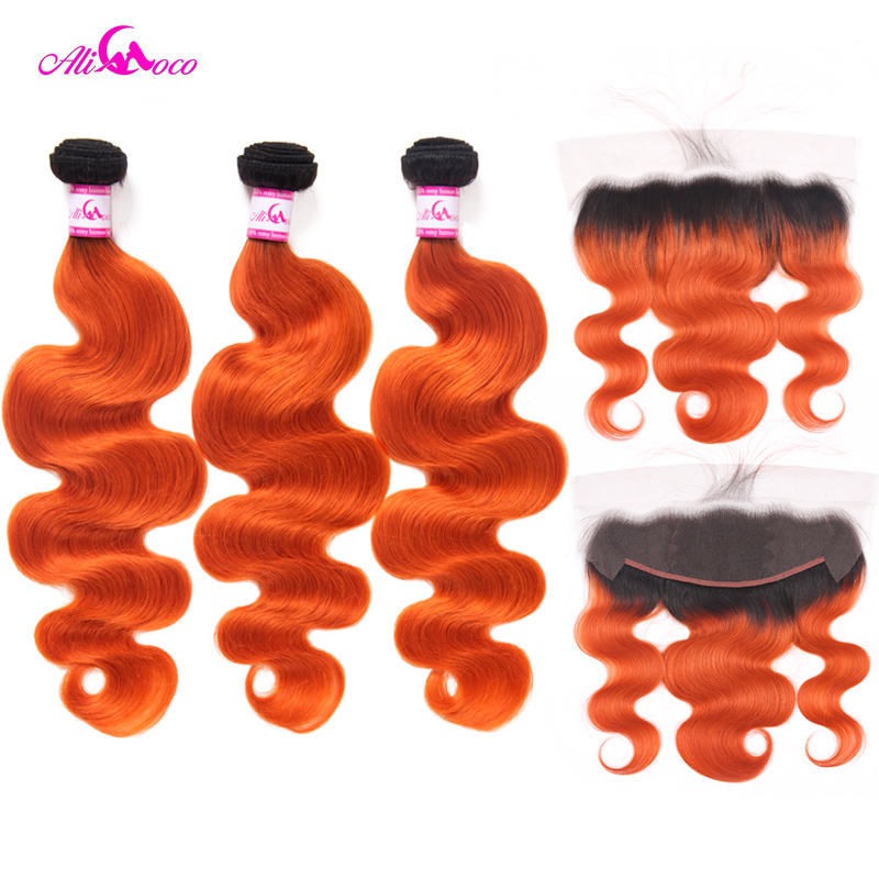 Ali Coco Body Wave 13X4 Ear To Ear Lace Frontal With 2/3 Bundles 1B/Orange Color 10-30 Inch Remy Human Hair Bundles With Frontal