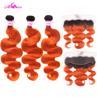 Ali Coco Body Wave 13X4 Ear To Ear Lace Frontal With 2/3 Bundles 1B/Orange Color 10 30 Inch Remy Human Hair Bundles With Frontal