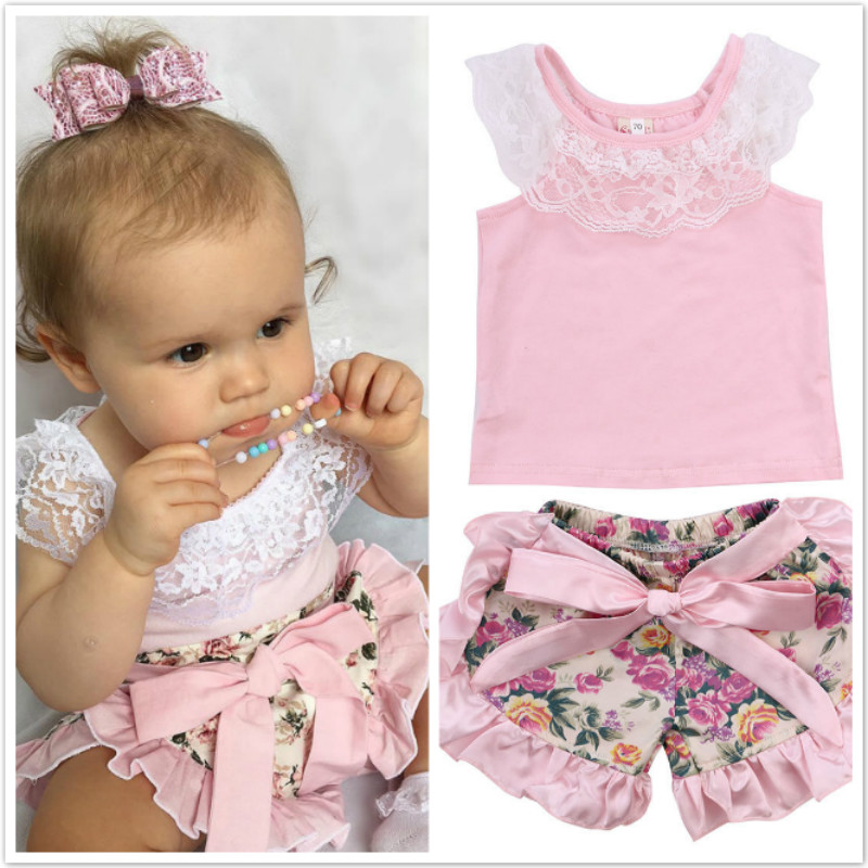 Infant Baby Girls Lace Tops T-shirt+Floral Shorts Clothes Sets Printed Floral 2pcs Girls Set 0-24M настольная игра гусёк djeco настольная игра гусёк