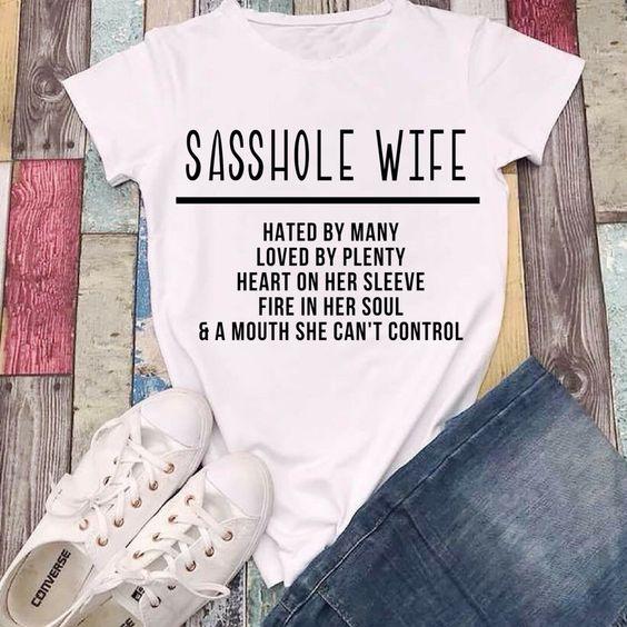 fcdb270bc83cc4 Sasshole Wife kawaii women fashion funny slogan T-shirt cotton casual  aesthetic tumblr party style