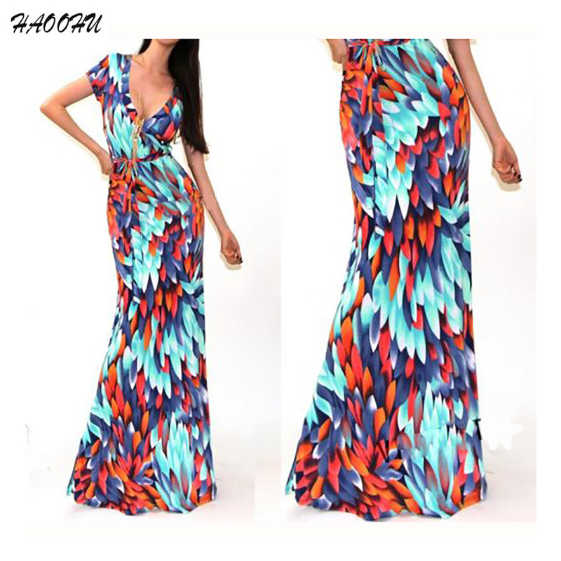 2016 Autumn New Fashion Bohemian Women Dress Vestidos Sexy V Neck Short Sleeve Printed Maxi Package Hip Maxi Long Dress 972 Dx In Dresses From Womens