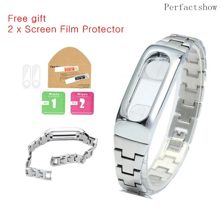 Xiaomi Mi Band 2 Bracelet Stainless Steel For MiBand 2 Wristbands Replace For Mi Band 2 Metal Strap with screen Protector filmXiaomi Mi Band 2 Bracelet Stainless Steel For MiBand 2 Wristbands Replace For Mi Band 2 Metal Strap with screen Protector film