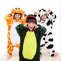 Free Ship Children Kid Unisex Pajamas Cosplay Costume Animal Onesie Sleepwear Penguin Coon Lion Dog Koala