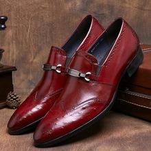 Black / brown tan mens loafer dress shoes genuine leather pointed toe mens business shoes fashion mens formal wedding shoes