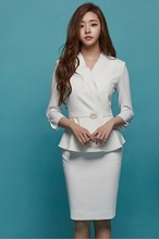 Korean version of high-grade white professional suit woman xiaoxiangfeng fashion dress guide desk interview uniforms