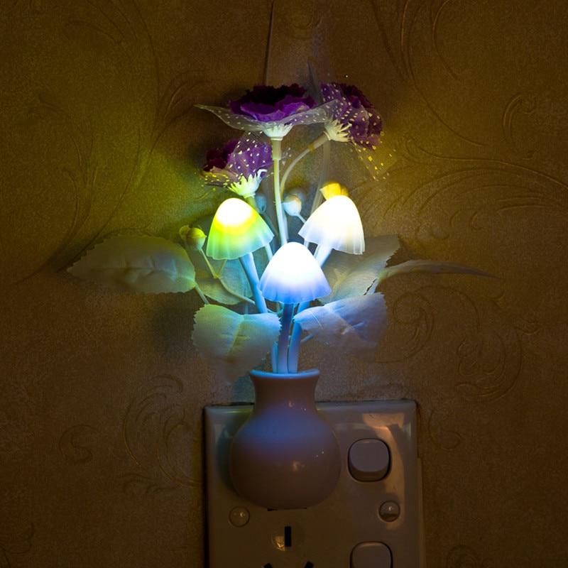 Decorative Wall Night Lights : New hot sale us plug romantic colorful sensor led mushroom