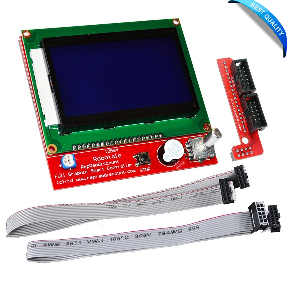 3D Printer kit 12864 LCD Graphic Smart Display Controller module with connector adapter & cable for RepRap RAMPS 1.4 for Arduino