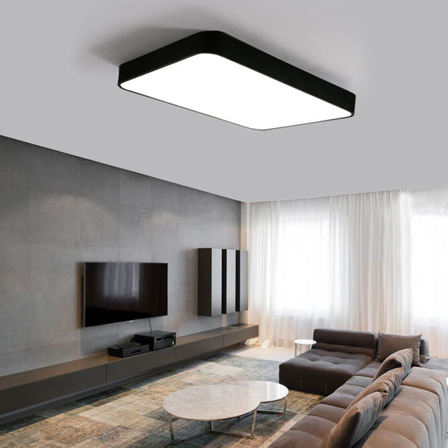 moderne schwarz led decke lampe wohnzimmer k che decke lichter dekor hause beleuchtung acryl. Black Bedroom Furniture Sets. Home Design Ideas