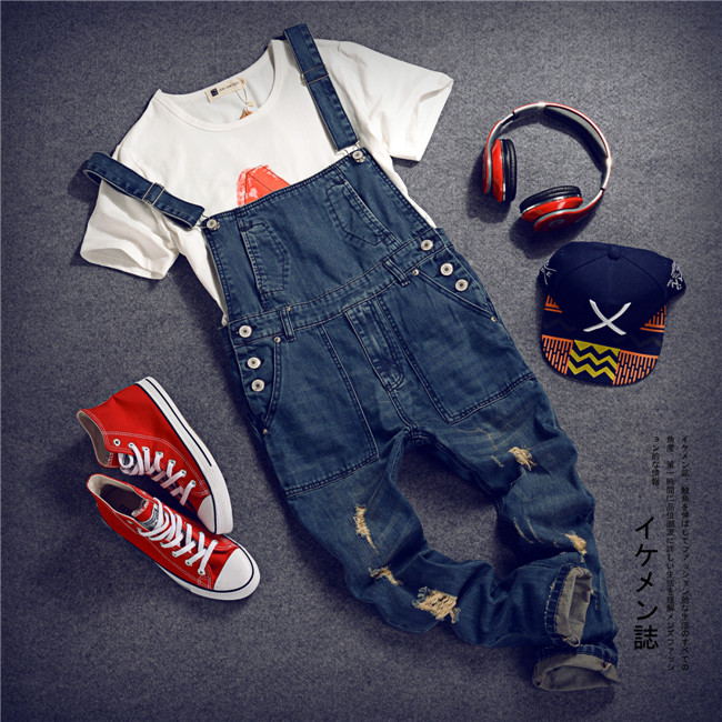 Men's Korean style slim Jumpsuits Hole suspenders jeans for men Mens denim bib pants Blue Denim Overalls Trouser For Man MB392 купить