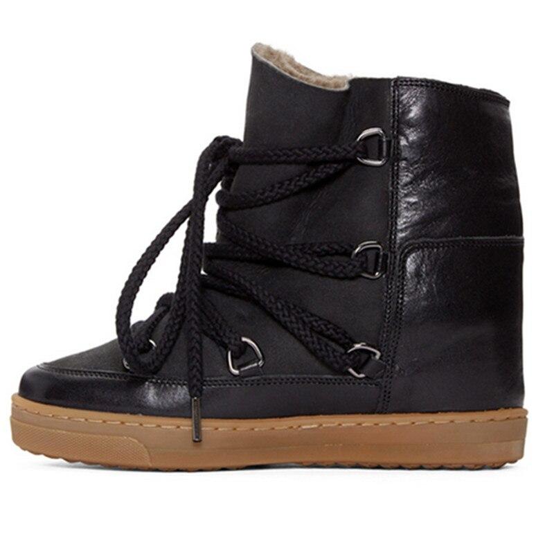 Bota feminina peluche à lacets bottines pour femme punk chaussures hauteur augmentant bottes de pluie noir marron cowboy bottes femme 2020 - 4