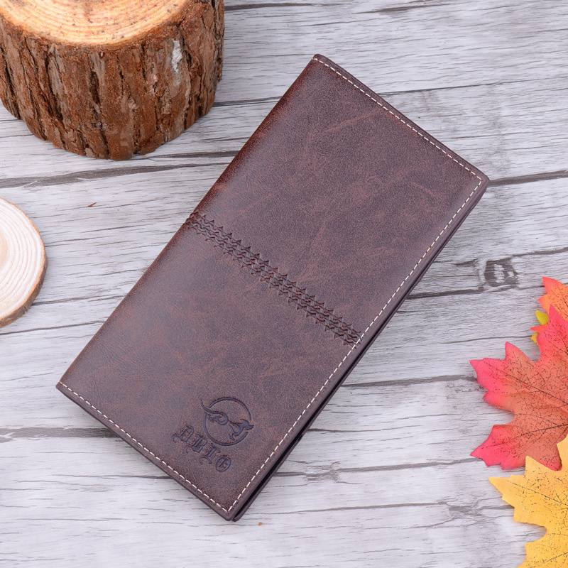 Retro Vintage Male Long Style Leather Wallet Man Brand Card Holder Purse Wallets for Men