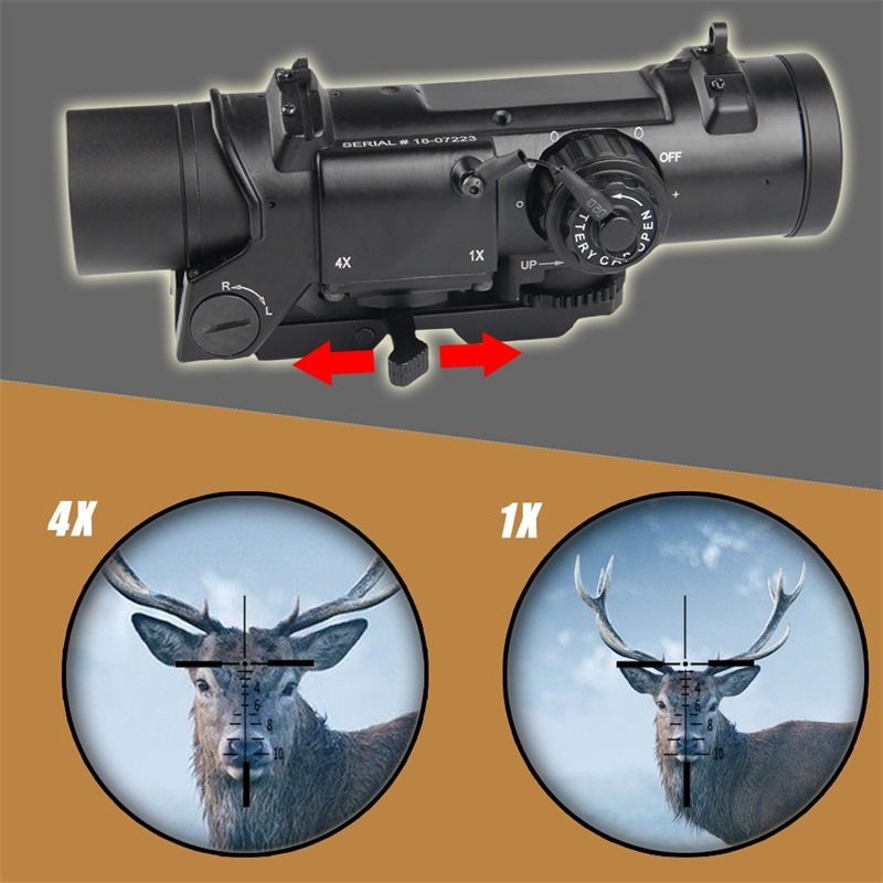 1x- 4x Dual Role Optic Rifle Scope Airsoft Scope Magnificate 4x32 Scope Fit 20mm Weaver Picatinny Rail For Hunting 6-0004