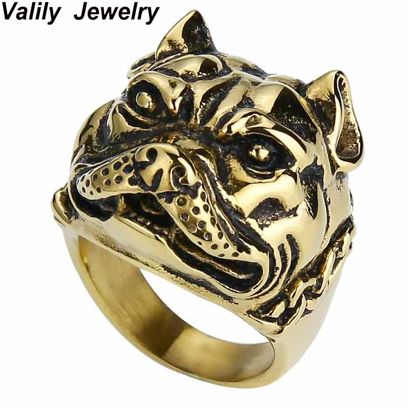 Valily Jewelry Mens Ring Pit Bull Bulldog Dog Rings Men Personality Animal Rings Jewelry Stainless Steel Punk Finger band Ring