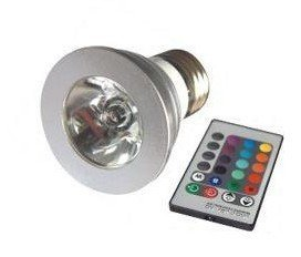 1*3W E27 RGB led spot light with remote controller