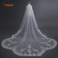 Lace Appliques Edge Wedding Veil with Comb 5 Meters Long Cathedral Veil for Bridal Wedding Accessories veu de noiva 5 metros V46