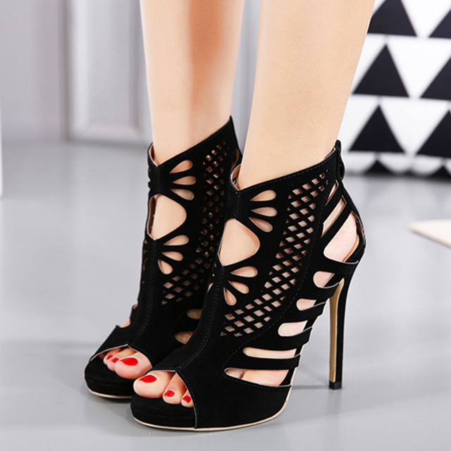 9fa73b0f5b3bfc Summer Stiletto Women Gladiator Sexy Black High Heel Shoes Peep Toe Zipper  Cut out New Strappy Fretwork Roman Sandals Shoes