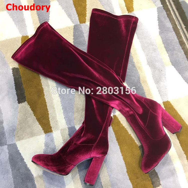New Fashion Velvet Elastic Fabric Women Over The Knee Boots Wine red Thigh High Boots Square High Heel Shoes Woman avvvxbw 2016 new brand long boots fashion elastic over the knee boots shoes woman square heel genuine leather thigh high boots