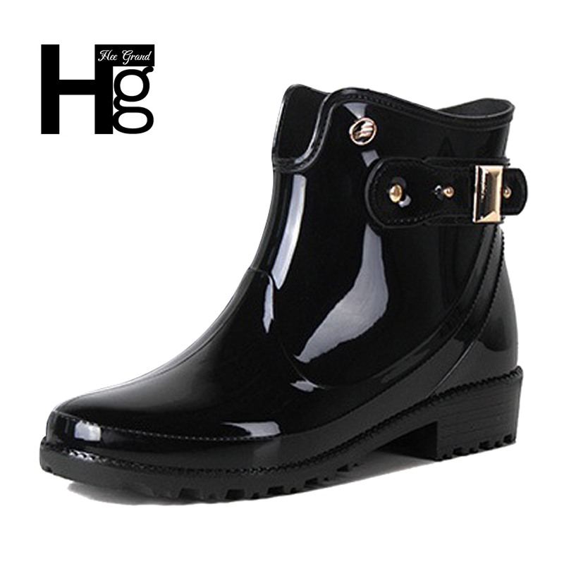 HEE GRAND Women Rain Boots Ankel Boots Invisible Height Increasing Slip On Woman Black Fashion Waterproof Rain Shoes XWX6418 hee grand fashion height increasing women shoes zip white black women casual pumps wedges shoes drop shipping xwc471