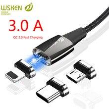 Cabo magnético para iphone x1pro, cabo micro usb tipo c 3a, dados de carregamento magnético para samsung fio do cabo c