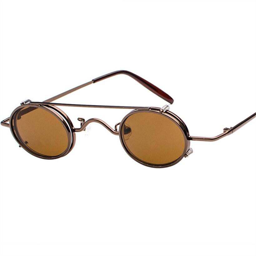 NYWOOH Männer Vintage Steampunk Sonnenbrille Frauen Marke Designer Gothic Runde Sonnenbrille Weiblich Männlich Metall Brille