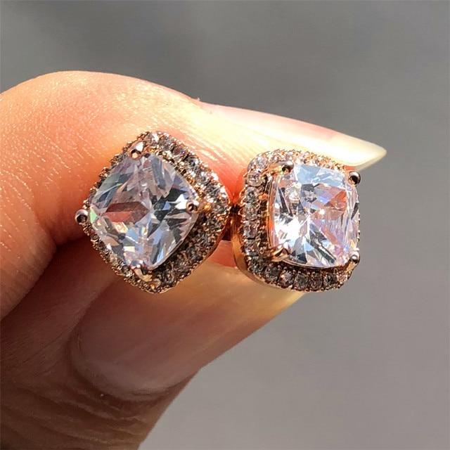 Luxo feminino cristal zircon pedra brincos moda prata cor jóias vintage duplo parafuso prisioneiro brincos para mulher 5