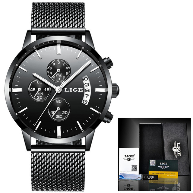 LIGE Mens Watches Top Brand Luxury Business Quartz Watch Men Steel Mesh Strap Casual Waterproof Sport Watch Relogio Masculino
