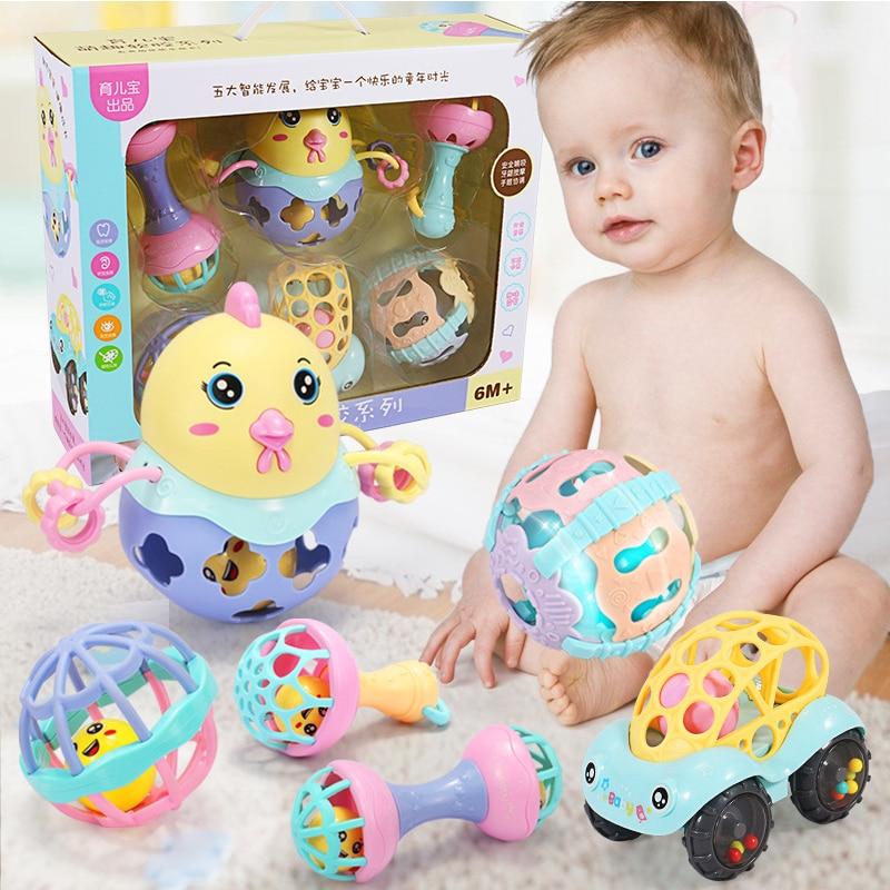 Bébé jouets en plastique main Jingle secouant la cloche belle main secouer la cloche anneau bébé hochets jouets nouveau-né 0-12 Mnoths jouets de dentition cadeaux