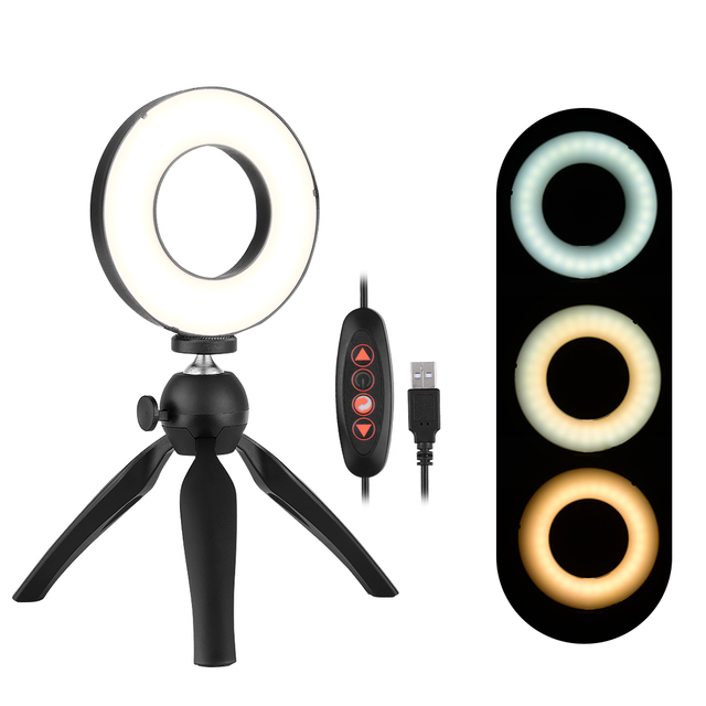 Photography LED Selfie Ring Light 12CM Dimmable Camera Phone Ringlight With Table Tripods For Makeup Video Live Studio Maquillaj