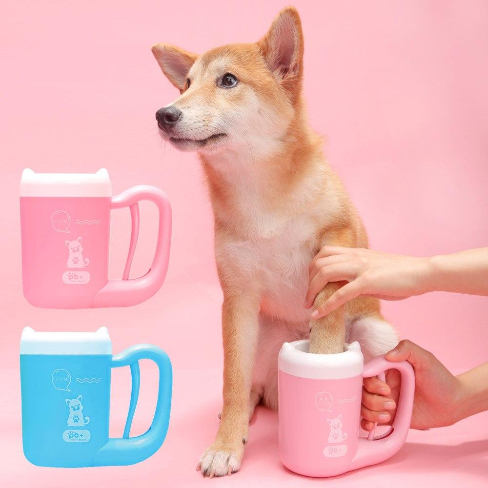 Pet Cão Gato Lavagem Pé Copo Limpo Ferramenta de Limpeza Manual Da Pata Limpeza Rotativa Copo de Silicone Macio Para O Pequeno Médio Grande cães Grooming