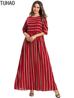 Thin Red Striped Summer Dress Woman Clothes High Waist Elegant Long Muslim Robe Patchwork Plus Size Casual Maxi Dresses T7537