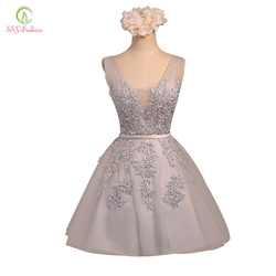 Короткое вечернее платье SSYFashion, хит продаж, сексуальное кружевное платье трапециевидной формы с v-образным вырезом, вечернее платье на зака...