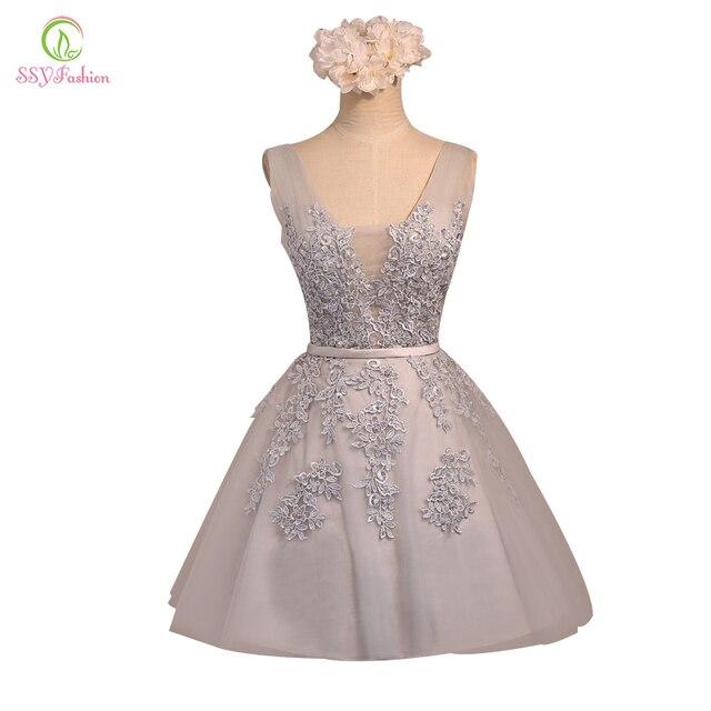 קצר שמלת ערב SSYFashion מכירה לוהטת סקסי צווארון V תחרה אונליין המפלגה שמלת פורמליות שמלה מותאם אישית שיבה הביתה שמלות Robe De Soiree