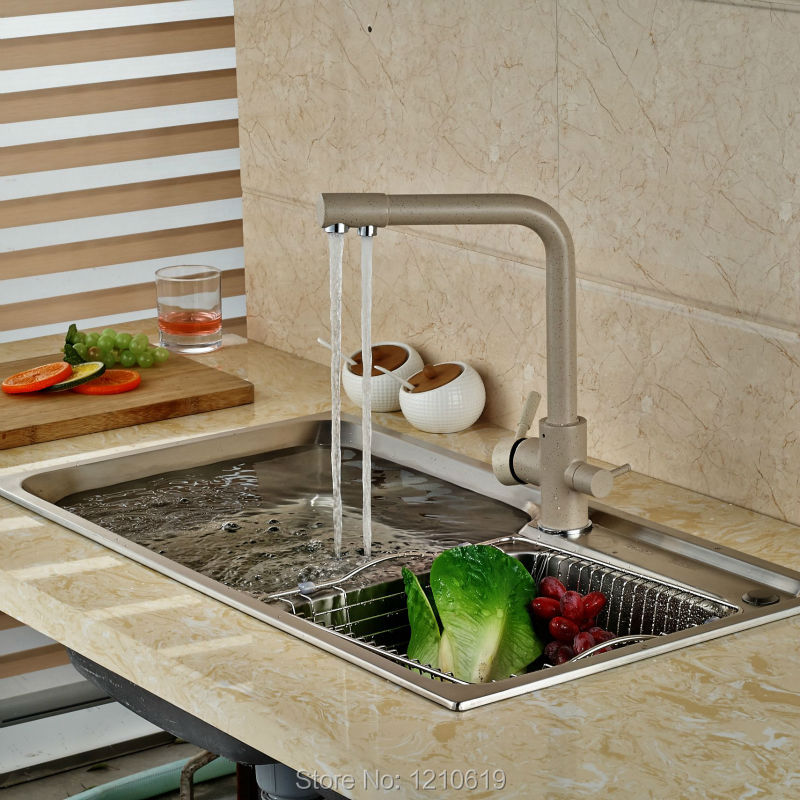 ФОТО Newly Deck Mount Kitchen Sink Faucet Basin Mixer Tap Single Hole Pure Water Faucet Dual Handles