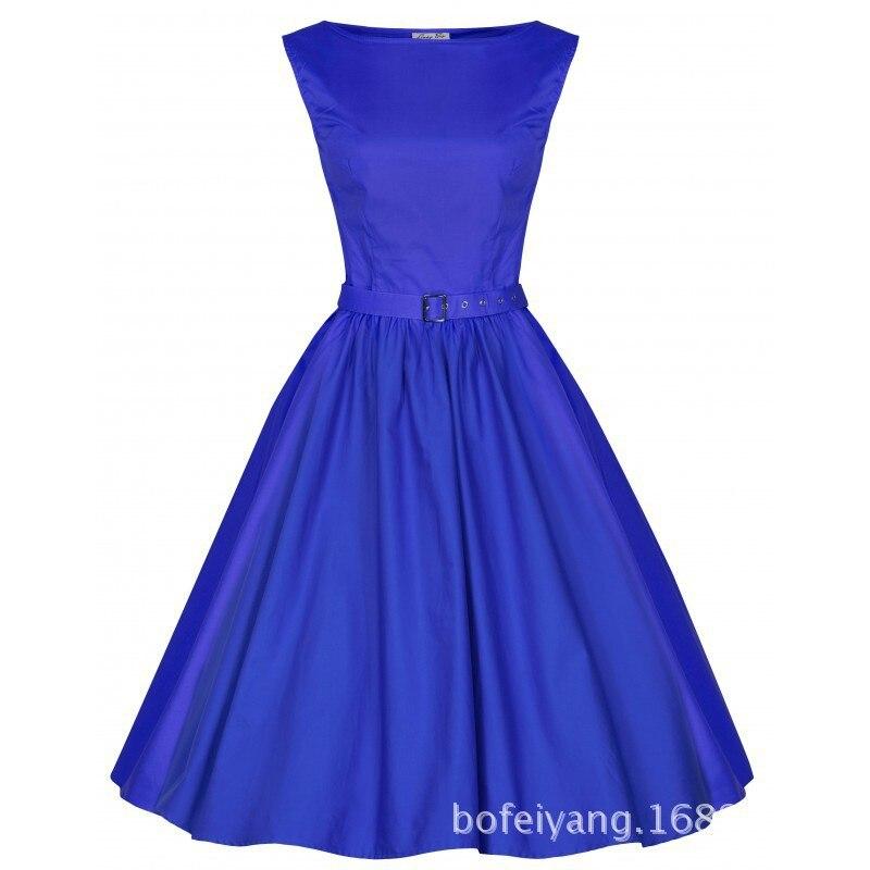 1950s style yellow dress blue